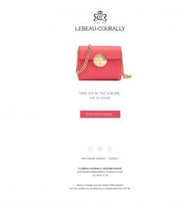 Nieuwsmailing voor Lebeau-Courally
