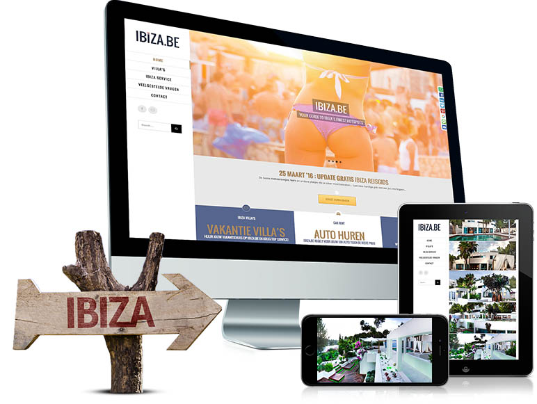Website voor Ibiza.be, responsive website en met een CMS,