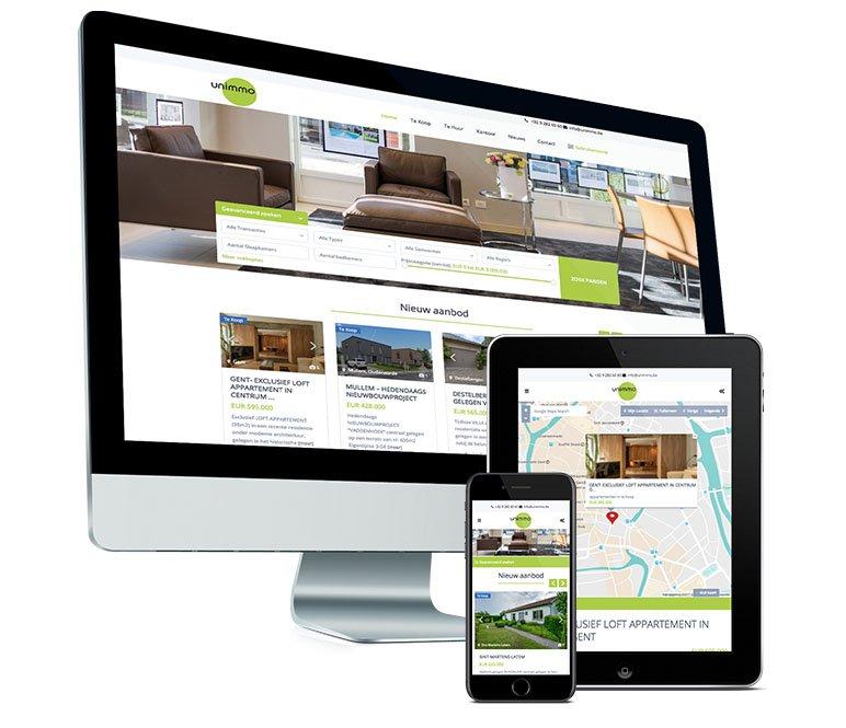 Webdesign: Mobielvriendelijke website voor Unimmo in Sint Martens Latem - door Fusion.web