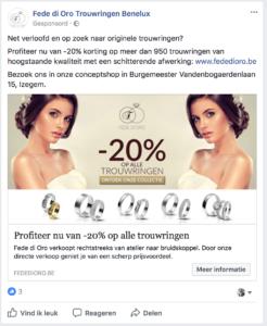 Voorbeeld Facebook Advertentie voor Fede Di Oro om hun actie bekend te maken