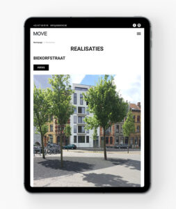 Website voor vastgoed op iPad
